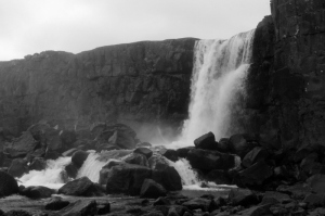 The clouds were not doing me any favors in most of the shots I took of this waterfall, so I made it black and white! Ha!